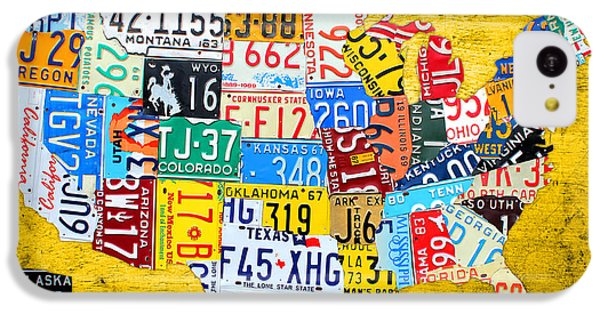 License Plate Art Map Of The United States On Yellow Board IPhone 5c Case
