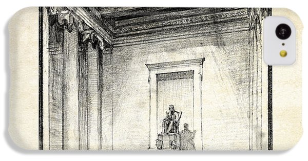 Lincoln Memorial iPhone 5c Case - Lincoln Memorial Sketch IIi by Gary Bodnar