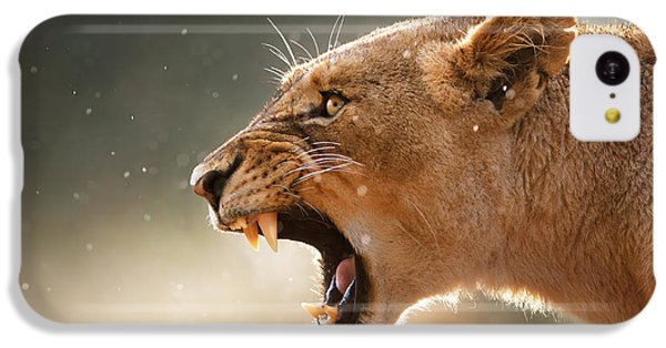 Animals iPhone 5c Case - Lioness Displaying Dangerous Teeth In A Rainstorm by Johan Swanepoel