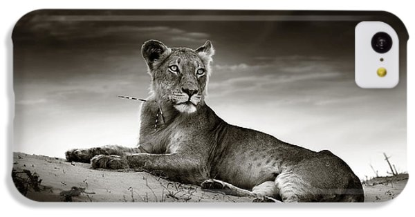 Cats iPhone 5c Case - Lioness On Desert Dune by Johan Swanepoel