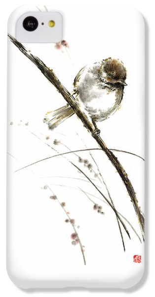 Little Bird On Branch Watercolor Original Ink Painting Artwork IPhone 5c Case
