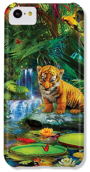 IPhone 5c Case featuring the drawing Little Tiger by Jan Patrik Krasny