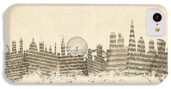 London England Skyline Sheet Music Cityscape IPhone 5c Case by Michael Tompsett