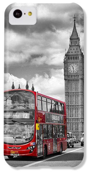 London - Houses Of Parliament And Red Bus IPhone 5c Case by Melanie Viola