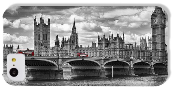 Big Ben iPhone 5c Case - London - Houses Of Parliament And Red Buses by Melanie Viola