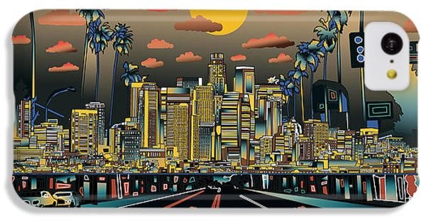 Los Angeles Skyline iPhone 5c Case - Los Angeles Skyline Abstract 2 by Bekim Art