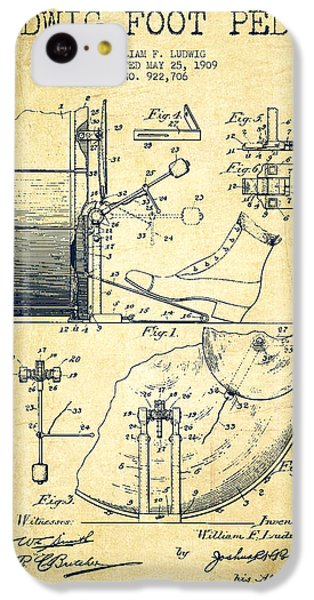 Folk Art iPhone 5c Case - Ludwig Foot Pedal Patent Drawing From 1909 - Vintage by Aged Pixel