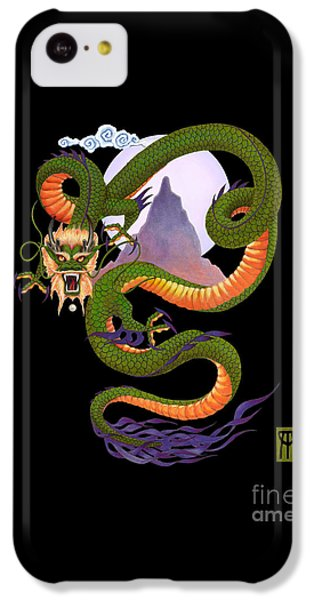Lunar Chinese Dragon On Black IPhone 5c Case by Melissa A Benson