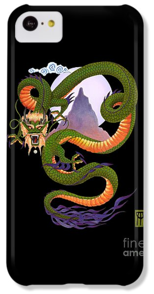 Dragon iPhone 5c Case - Lunar Chinese Dragon On Black by Melissa A Benson