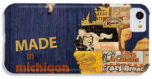 Made In Michigan Products Vintage Map On Wood IPhone 5c Case