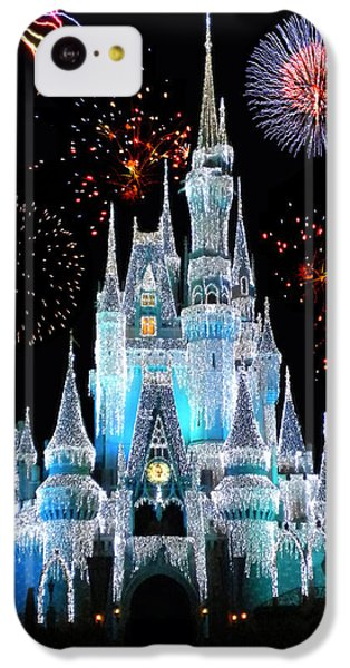 Magician iPhone 5c Case - Magic Kingdom Castle In Frosty Light Blue With Fireworks 06 by Thomas Woolworth