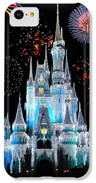 Castle iPhone 5c Case - Magic Kingdom Castle In Frosty Light Blue With Fireworks 06 by Thomas Woolworth