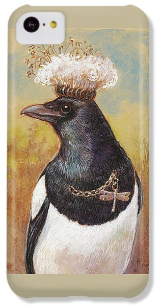 Magpie In A Milkweed Crown IPhone 5c Case by Tracie Thompson