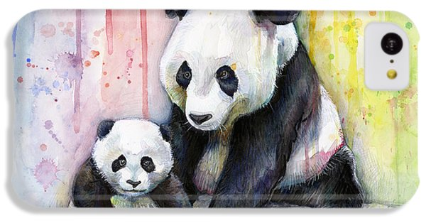 Panda Watercolor Mom And Baby IPhone 5c Case