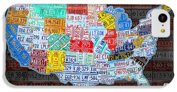 Map Of The United States In Vintage License Plates On American Flag IPhone 5c Case