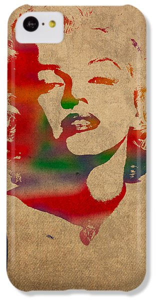 Marilyn Monroe iPhone 5c Case - Marilyn Monroe Watercolor Portrait On Worn Distressed Canvas by Design Turnpike