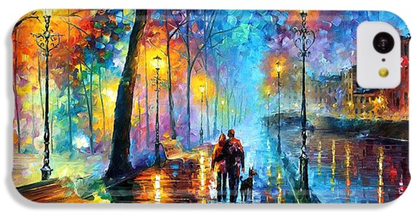 Saxophone iPhone 5c Case - Melody Of The Night - Palette Knife Landscape Oil Painting On Canvas By Leonid Afremov by Leonid Afremov