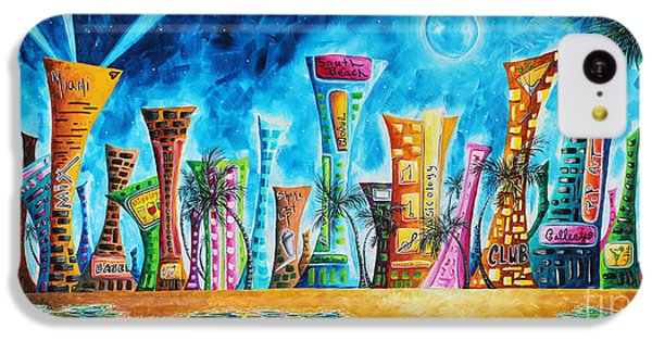 Miami City South Beach Original Painting Tropical Cityscape Art Miami Night Life By Madart Absolut X IPhone 5c Case