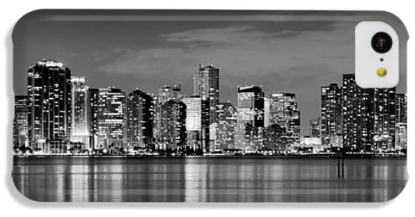 Miami iPhone 5c Case - Miami Skyline At Dusk Black And White Bw Panorama by Jon Holiday