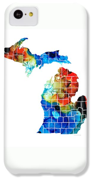 Michigan State Map - Counties By Sharon Cummings IPhone 5c Case by Sharon Cummings