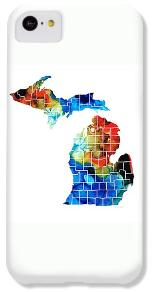 University Of Michigan iPhone 5c Case - Michigan State Map - Counties By Sharon Cummings by Sharon Cummings