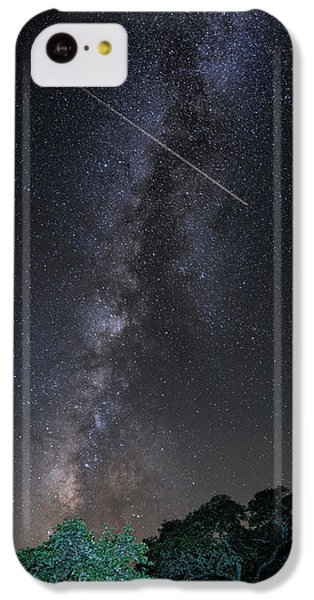 Milky Way Vertical Panorama At Enchanted Rock State Natural Area - Texas Hill Country IPhone 5c Case by Silvio Ligutti