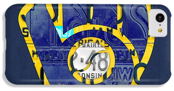 Milwaukee Brewers Vintage Baseball Team Logo Recycled Wisconsin License Plate Art IPhone 5c Case