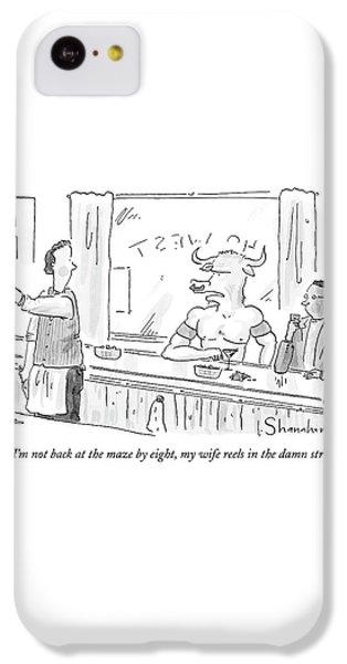 Minotaur At Bar Talking To Bartender Reaching IPhone 5c Case