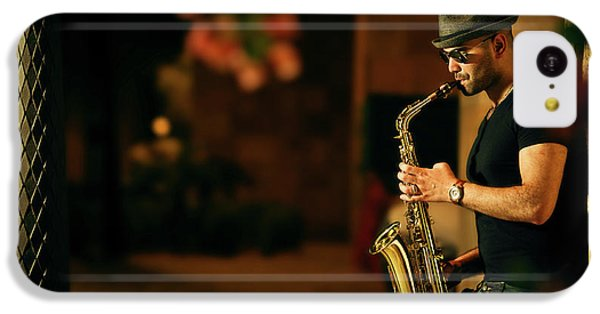 Saxophone iPhone 5c Case - Mood With Jazz by Kzh