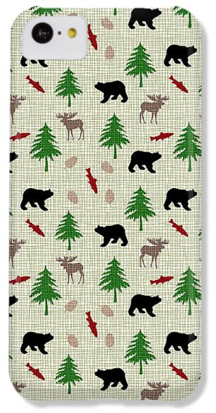 Moose And Bear Pattern IPhone 5c Case by Christina Rollo