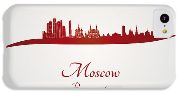 Moscow Skyline In Red IPhone 5c Case by Pablo Romero
