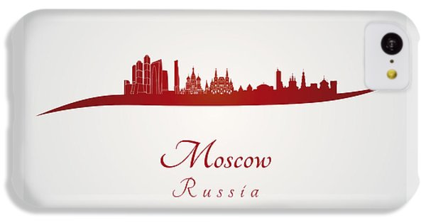 Moscow Skyline iPhone 5c Case - Moscow Skyline In Red by Pablo Romero