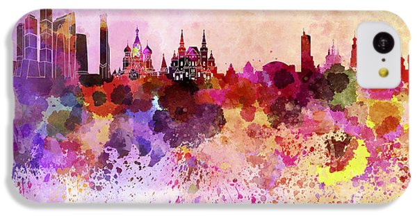 Moscow Skyline iPhone 5c Case - Moscow Skyline In Watercolor Background by Pablo Romero