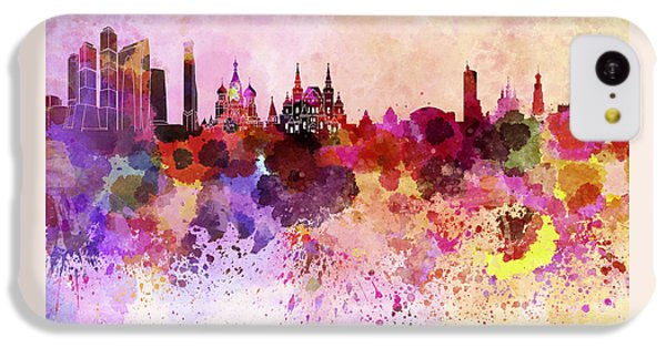 Moscow Skyline In Watercolor Background IPhone 5c Case by Pablo Romero