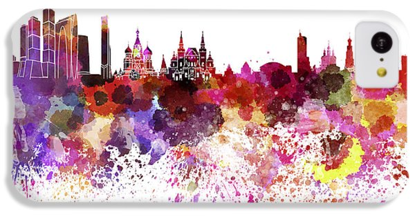 Moscow Skyline iPhone 5c Case - Moscow Skyline White Background by Pablo Romero