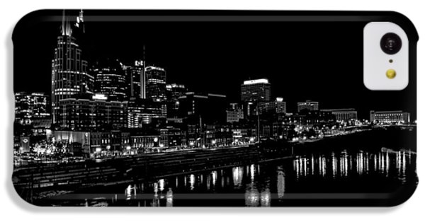 Nashville Skyline At Night In Black And White IPhone 5c Case by Dan Sproul
