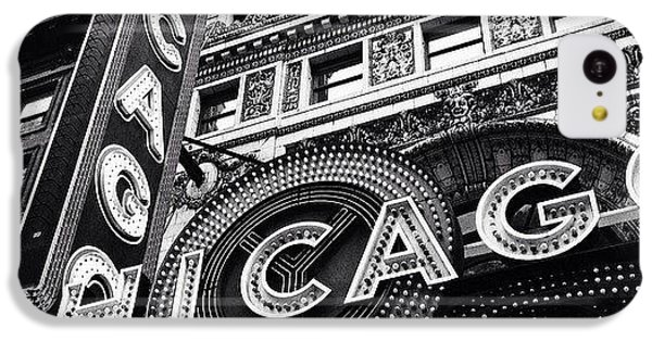 Architecture iPhone 5c Case - Chicago Theatre Sign Black And White Photo by Paul Velgos
