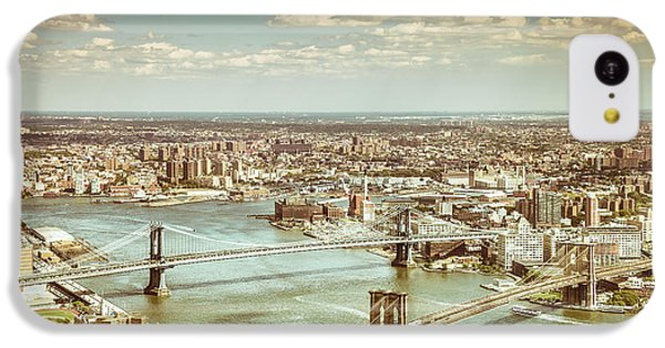 New York City - Brooklyn Bridge And Manhattan Bridge From Above IPhone 5c Case by Vivienne Gucwa