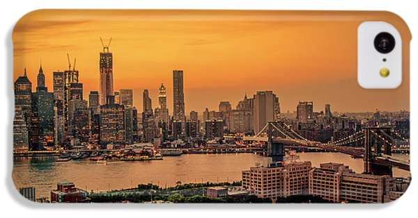 City Sunset iPhone 5c Case - New York Sunset - Skylines Of Manhattan And Brooklyn by Vivienne Gucwa