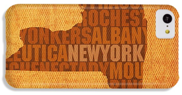 New York Word Art State Map On Canvas IPhone 5c Case by Design Turnpike