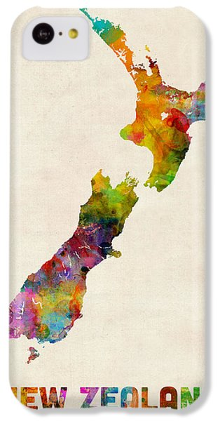 New Zealand Watercolor Map IPhone 5c Case by Michael Tompsett