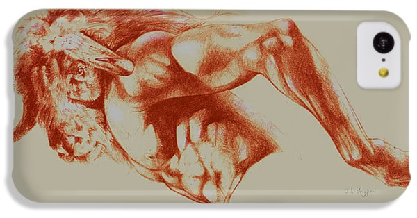 Minotaur iPhone 5c Case - North American Minotaur Red Sketch by Derrick Higgins
