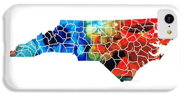 North Carolina - Colorful Wall Map By Sharon Cummings IPhone 5c Case by Sharon Cummings