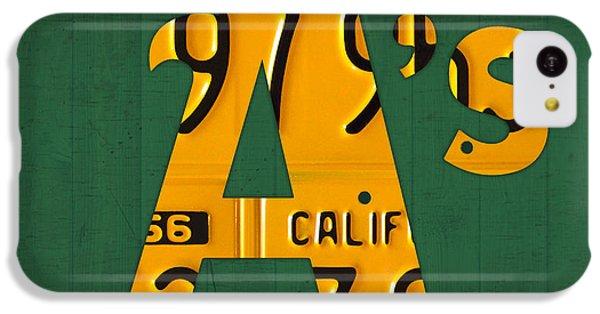 Orange iPhone 5c Case - Oakland Athletics Vintage Baseball Logo License Plate Art by Design Turnpike