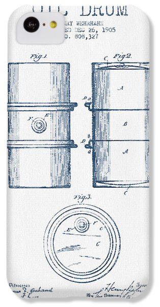 Drum iPhone 5c Case - Oil Drum Patent Drawing From 1905 -  Blue Ink by Aged Pixel