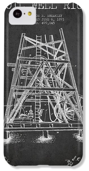 Oil Well Rig Patent From 1893 - Dark IPhone 5c Case by Aged Pixel
