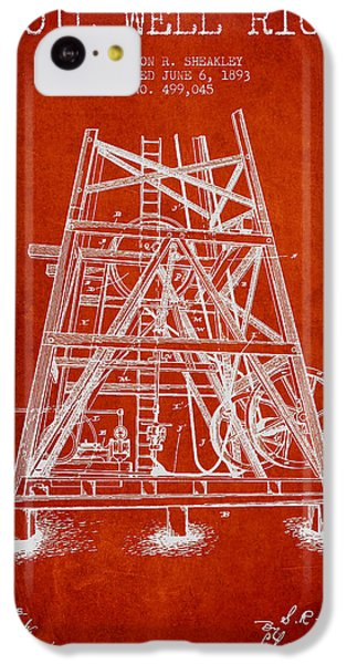 Oil Well Rig Patent From 1893 - Red IPhone 5c Case by Aged Pixel