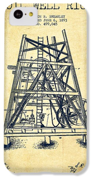 Oil Well Rig Patent From 1893 - Vintage IPhone 5c Case by Aged Pixel