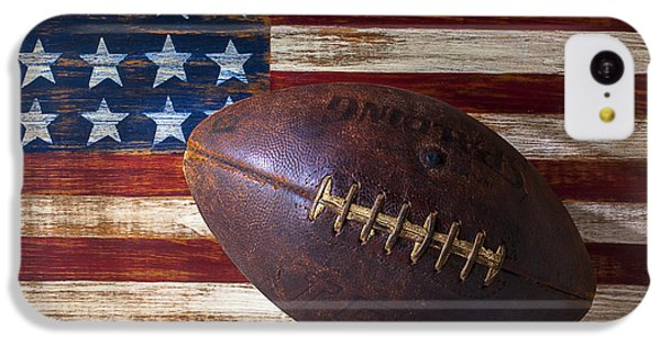 Landmarks iPhone 5c Case - Old Football On American Flag by Garry Gay