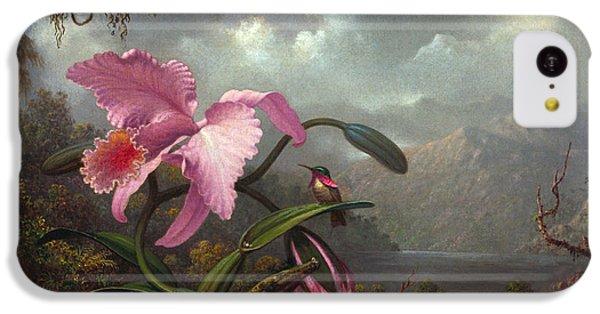 Humming Bird iPhone 5c Case - Orchid And Hummingbird by Martin Johnson Heade